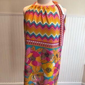 Trina Turk summer dress with tie neck on side